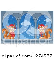 Clipart Of Two Christmas Squirrels Wearing Santa Hats And Holding Gifts By Castle Windows Royalty Free Vector Illustration by visekart