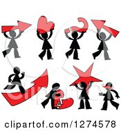 Clipart Of Black Silhouetted Men With Red Items Royalty Free Vector Illustration by Prawny