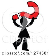 Clipart Of A Black Silhouetted Man Holding Up A Red Question Mark Royalty Free Vector Illustration by Prawny