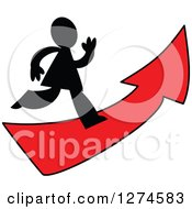 Clipart Of A Black Silhouetted Man Running On A Red Arrow Royalty Free Vector Illustration by Prawny