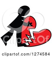 Clipart Of A Black Silhouetted Man Hugging A Broken Red Heart Royalty Free Vector Illustration