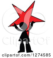 Clipart Of A Black Silhouetted Man Holding Up A Red Star Royalty Free Vector Illustration by Prawny