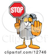 Garbage Can Mascot Cartoon Character Holding A Stop Sign by Toons4Biz