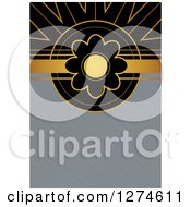 Clipart Of A Gold And Black Retro Art Deco Daisy Flower Background With Brushed Silver Metal Text Space Royalty Free Illustration by Prawny