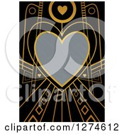 Clipart Of A Gold And Black Retro Art Deco Heart Valentines Day Background With Brushed Silver Metal Text Space Royalty Free Illustration by Prawny