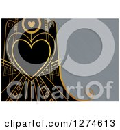 Clipart Of A Gold And Black Retro Art Deco Heart Valentine Background With Brushed Silver Metal Text Space Royalty Free Illustration by Prawny