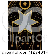 Clipart Of A Gold And Black Retro Art Deco Star Background With Brushed Silver Metal Text Space Royalty Free Illustration