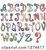 Clipart Of Colorful Curly Styled Capital Alphabet Letters Royalty Free Vector Illustration by Prawny
