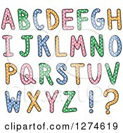 Clipart Of Colorful Capital Alphabet Letters With Polka Dots Royalty Free Vector Illustration