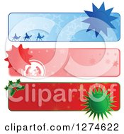 Clipart Of Christmas Website Banner Headers With Seals Royalty Free Vector Illustration