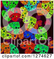 Clipart Of A Doodled Colorful Heart Valentines Day Love Background Royalty Free Illustration