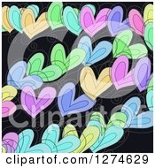Clipart Of A Doodled Colorful Heart And Swirl Valentines Day Love Background Royalty Free Illustration