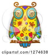 Clipart Of A Whimsical Perched Owl Royalty Free Illustration by Prawny