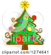 Clipart Of A Whimsical Christmas Tree Royalty Free Illustration