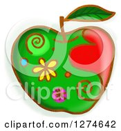 Clipart Of A Whimsical Green Apple Royalty Free Illustration by Prawny