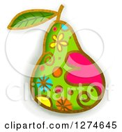 Clipart Of A Whimsical Pear Royalty Free Illustration