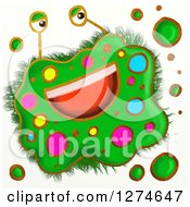 Clipart Of A Whimsical Happy Green Germ Royalty Free Illustration