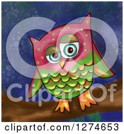 Painted Owl On A Branch Over A Night Sky
