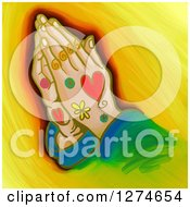 Clipart Of A Painting Of Whimsical Praying Hands Royalty Free Illustration by Prawny