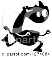 Clipart Of A Black And White Silhouetted Rhinoceros Chasing Royalty Free Vector Illustration