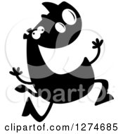 Clipart Of A Black And White Silhouetted Rhinoceros Running Crazy Royalty Free Vector Illustration