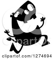 Clipart Of A Black And White Silhouetted Hippo Running Royalty Free Vector Illustration by Cory Thoman