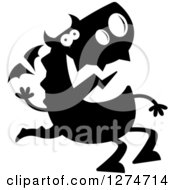 Clipart Of A Black And White Silhouetted Dragon Sitting And Waving Royalty Free Vector Illustration