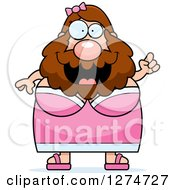 Clipart Of A Chubby Caucasian Bearded Lady Circus Freak With An Idea Royalty Free Vector Illustration by Cory Thoman