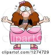 Clipart Of A Chubby Caucasian Scared Screaming Bearded Lady Circus Freak Royalty Free Vector Illustration by Cory Thoman