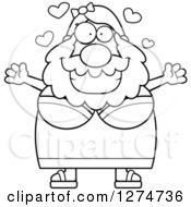 Clipart Of A Black And White Chubby Bearded Lady Circus Freak Wanting A Hug Royalty Free Vector Illustration