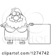 Clipart Of A Black And White Chubby Bearded Lady Circus Freak With A Blank Sign Royalty Free Vector Illustration