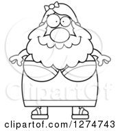 Clipart Of A Black And White Chubby Happy Bearded Lady Circus Freak Royalty Free Vector Illustration