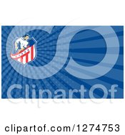 Clipart Of A Retro Rugby Player And Blue Rays Business Card Design Royalty Free Illustration