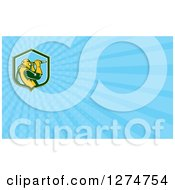 Clipart Of A Retro Sandblaster And Blue Rays Business Card Design Royalty Free Illustration by patrimonio