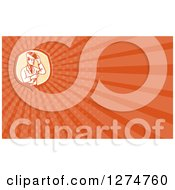 Clipart Of A Retro Welding Scientist And Orange Rays Business Card Design Royalty Free Illustration by patrimonio