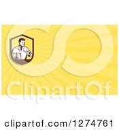 Clipart Of A Retro Scientist In A Laboratory And Yellow Rays Business Card Design Royalty Free Illustration by patrimonio