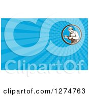Clipart Of A Retro Home Insulation Worker And Blue Rays Business Card Design Royalty Free Illustration