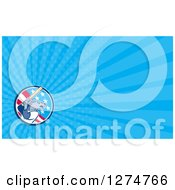 Clipart Of A Baseball Wolf Batting And Blue Rays Business Card Design Royalty Free Illustration