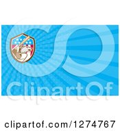 Clipart Of A Baseball Wolf Batting And Blue Rays Business Card Design 2 Royalty Free Illustration