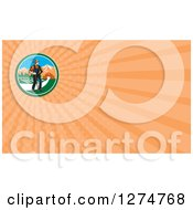 Clipart Of A Retro Woodcut Famer And Pasture And Orange Rays Business Card Design Royalty Free Illustration by patrimonio