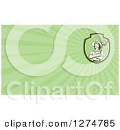 Clipart Of A Retro Female Farmer Holding A Pitchfork And Green Rays Business Card Design Royalty Free Illustration