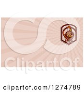 Clipart Of A Retro Fireman And Rays Business Card Design Royalty Free Illustration