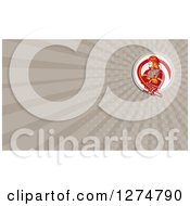 Clipart Of A Retro Fireman And Rays Business Card Design 2 Royalty Free Illustration
