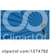 Clipart Of A Retro Fireman And Blue Rays Business Card Design Royalty Free Illustration
