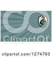 Clipart Of A Retro Fireman And Teal Rays Business Card Design Royalty Free Illustration