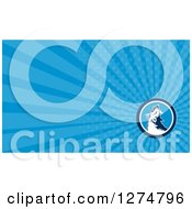 Clipart Of A Retro Howling Fox And Blue Rays Business Card Design Royalty Free Illustration by patrimonio