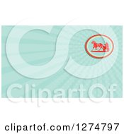 Clipart Of A Retro Horse Cart Racer And Blue Rays Business Card Design Royalty Free Illustration