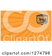 Clipart Of A Retro Horse Cart Racer And Orange Rays Business Card Design Royalty Free Illustration
