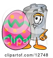 Clipart Picture Of A Garbage Can Mascot Cartoon Character Standing Beside An Easter Egg by Toons4Biz