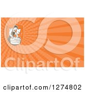 Clipart Of A Retro Housewife Doing Laundry And Orange Rays Business Card Design Royalty Free Illustration